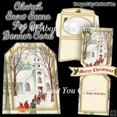 Church Snow Scene Pop Out Banner Card
