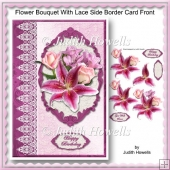 Flower Bouquet With Lace Side Border Card Front