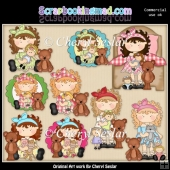 Tabitha And Teddy Love To Play With Dolls ClipArt Collection