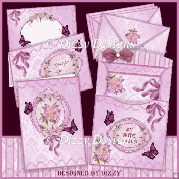 Floral Spray Note Cards with Pouch