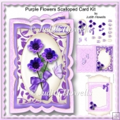 Purple Flowers Scalloped Card Kit