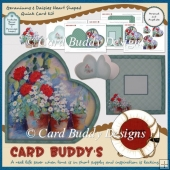Geraniums & Daisies Heart Shaped Quick Card Kit +Bonus Topper &