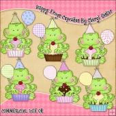 Happy Frogs Cupcake ClipArt Graphic Collection