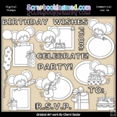 Mouse Peekers Birthday EXCLUSIVE Digital Stamp Graphics