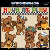 Cuddle Bears Boys At Play ClipArt Collection