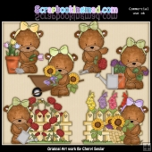 Bailey Bears Flower Garden ClipArt Graphic Collection