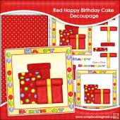Red Happy Birthday Cake Decoupage Download