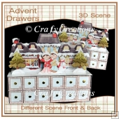 Village Scene Advent Drawers