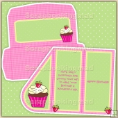 Birthday Cake Teardrop Card PDF Decoupage Download