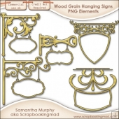 5 Wood Grain Hanging Sign Elements