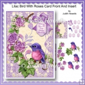 Lilac Bird With Roses Card Front And Insert
