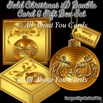 Gold 3D Bauble Christmas Tree Ornament With Gift Box & Card