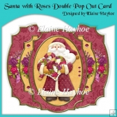Santa with Roses Double Pop Out Card with Envelope