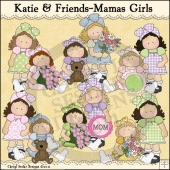 Katie and Friends Mamas Girls ClipArt Graphic Collection