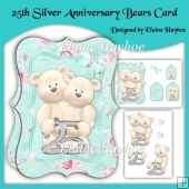 25th Silver Anniversary Bears Card