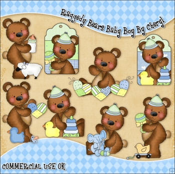 Raggedy Bears Baby Boy ClipArt Graphic Collection