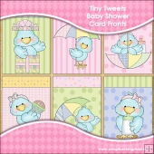 6 Tiny Tweets Baby Shower Card Fronts