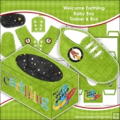 Welcome Earthling Baby Boy Trainer & Gift Box Keepsake
