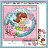Cute Fairy Girl With Flower Square Card Front