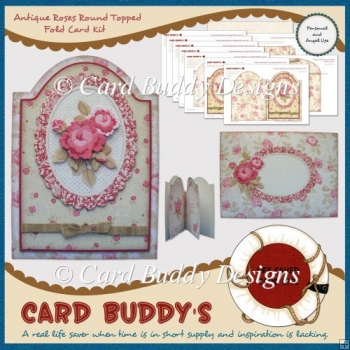 Antique Roses Round Topped Fold Card Kit