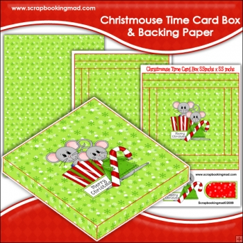 Christmouse Time PDF Decoupage Card Box & Backing Paper