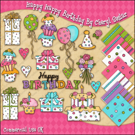 Happy Happy Birthday ClipArt Graphic Collection - Click Image to Close