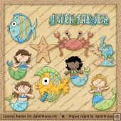 Under The Sea Mermaid ClipArt Graphic Collection