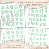 Arial Green Upper & Lower Case Letters