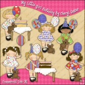 My Little Girls Birthday ClipArt Graphic Collection