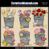 Blooming Buckets ClipArt Collection