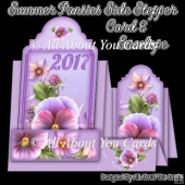 Summer Pansies Side Stepper 2017 Calendar Card & Envelope