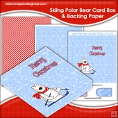 Skiing Polar Bear PDF Decoupage Card Box & Backing Paper
