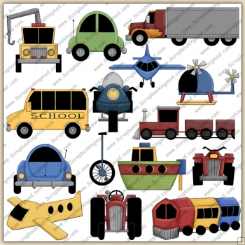 Planes Trains & Autos ClipArt Graphic Collection