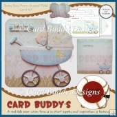 Baby Boy Pram Shaped Fold Card Kit