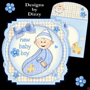 New Baby Boy Shaped Card