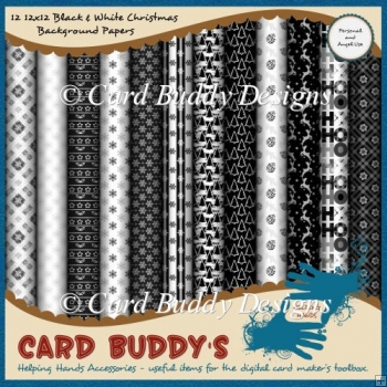 Twelve 12x12 Black & White Christmas Background Papers
