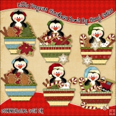 Little Penguins Christmas Bowls ClipArt Graphic Collection