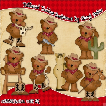 Tattered Teddies Buckaroos ClipArt Graphic Collection
