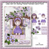 Lilac Girl On Swing Floral Framed Card Front