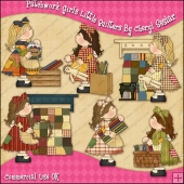 Patchwork Girls Little Quilters ClipArt Graphic Collection