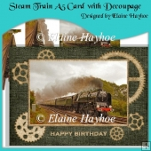Steam Train A5 Card with Decoupage