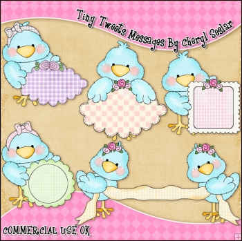 Tiny Tweets Messages ClipArt Graphic Collection