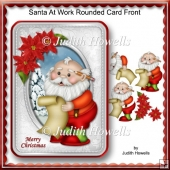 Santa At Work Rounded Card Front