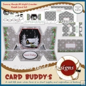 Snowy House At Night Cracker Easel Card Kit