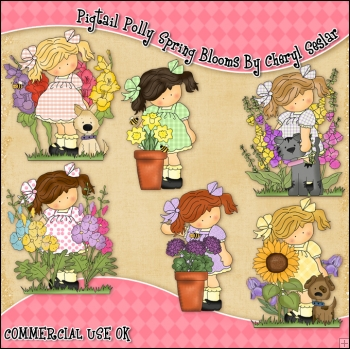 Pigtail Polly Spring Blooms ClipArt Graphic Collection