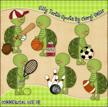 Silly Turtles Sports ClipArt Graphic Collection