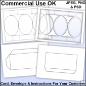 Cameo Tri Shutter Card & Envelope Template Commercial Use Ok
