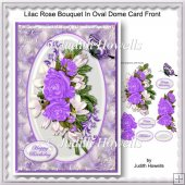 Lilac Rose Bouquet In Oval Dome Card Front