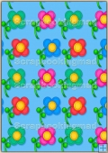 A4 Backing Papers Single - Blue Flowers - REF_BP_168