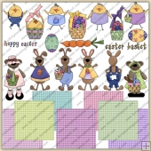 Easter Bunny Chics Bears ClipArt Graphic Collection